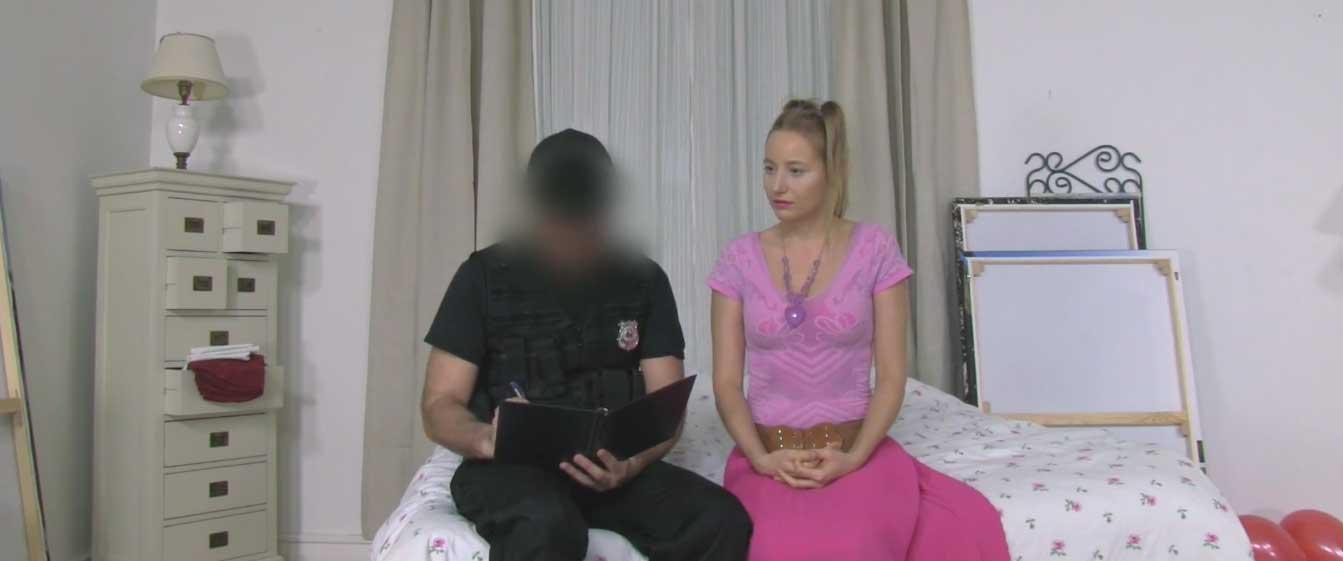 Kiki Cyrus - Cop Fucks Pigtailed Home Alone Lady